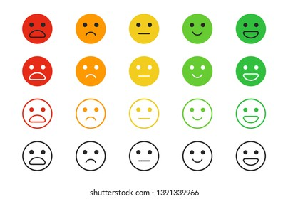 Set of rating satisfaction. Emotion rating feedback in line style. User experience feedback. Different mood smiley emoticons - excellent, good, normal, bad, awful. Concept from positive to negative.