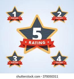 Set of a rating stamp, badge. Hotel rating. Vector illustration in flat style.