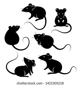 Set of rats black silhouettes, isolated on white. Vector illustration. Symbols of 2020 Chinese New Year.