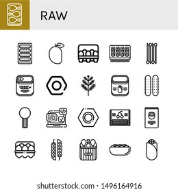 Set of raw icons such as Chicken leg, Cucumber, Mango, Eggs, Sushi roll, Onion, Peas, Nut, Dill, Corn, Celery, Svg, Cherry, Nuts, Egg, Pistachio , raw
