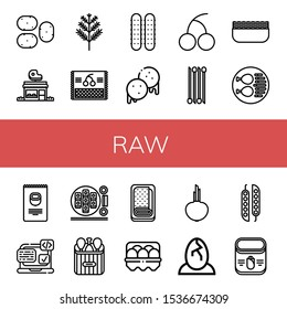 Set of raw icons. Such as Potato, Butcher shop, Dill, Cherry, Cucumber, Arepas, Onion, Minced meat, Chicken leg, Nuts, Svg, Sushi roll, Meatloaf, Egg, Eggs, Peas, Corn , raw icons
