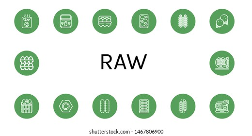 Set of raw icons such as Potatoes, Corn, Egg, Chicken leg, Brussels sprouts, Arepas, Nut, Cucumber, Peas, Svg, Eggs, Sushi roll , raw