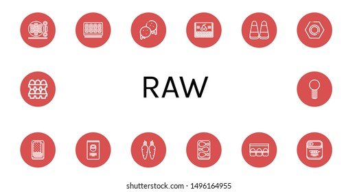Set of raw icons such as Sushi roll, Arepas, Cherry, Corn, Nut, Meatloaf, Nuts, Carrot, Chicken leg, Egg carton, Peas, Eggs, Celery , raw