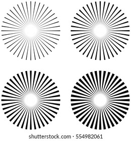 SET rays, beams element. The sun rays, the shape of the starburst on white. Radiant, radial, merging lines. Abstract circular geometric shape, vector template