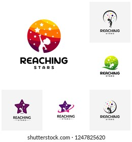 Set of Reaching Stars Logo Design Template. Dream star logo. Emblem, Colorful, Creative Symbol, Icon