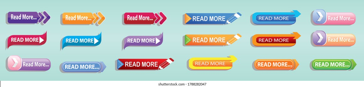 set of read more button with various models. vector illustration
