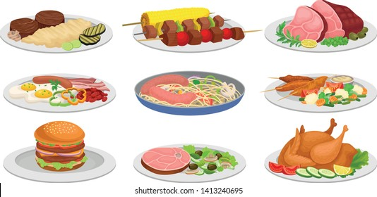 Set of ready meals for lunch. Vector illustration on white background.