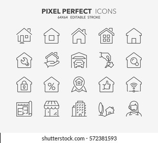 Set of real estate and homes thin line icons. Contains icons as area, hand holding key, smart home, contact and support, apartments and more. Editable stroke. 64x64 Pixel Perfect.