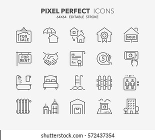 Set of real estate and homes thin line icons. Contains icons as land for sale, business office, insurance, deed of sale, apartments and more. Editable stroke. 64x64 Pixel Perfect.