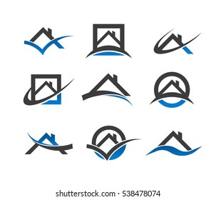 Set of real estate house roof icons