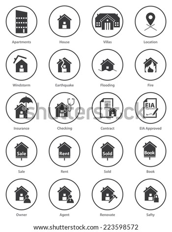 Set Real Estate Icon Flat Design Stock Vector (Royalty Free