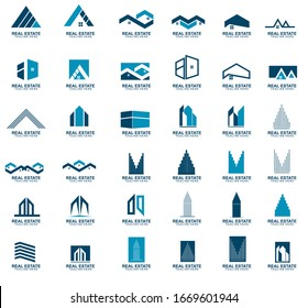 Set of Real estate logo design.  modern and elegant style design. bussines logo design template