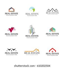 Set of real estate logo templates. House, buildings, skyline creative shapes for logo design.