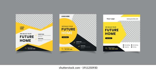 Set of Real Estate Social Media Post, home for sale Social Media Post, home repair Poster Vector Template