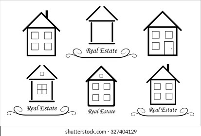 Set Real Estate Vector icon, black and white