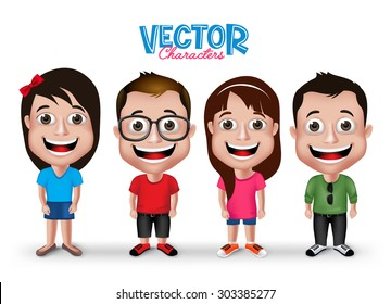 Set of Realistic 3D Boys and Girls Young Adult Kids Characters Happy Smiling in Casual Dress Fashion Isolated in White Background. Editable Vector Illustration