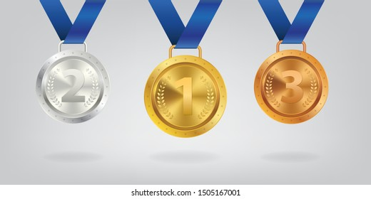 A set of Realistic 3d Champion Gold silver and bronze medal with red ribbon vector illustration