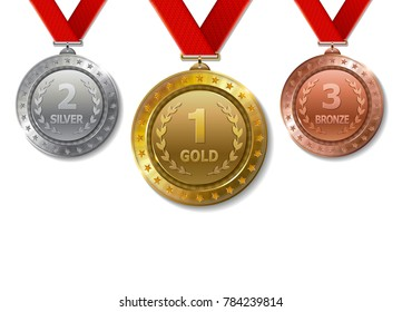 Set of realistic 3d Champion gold, silver and bronze award   trophy medals with red ribbons for winner.  Honor prize.  Modern flat style isolated on background. Vector illustration