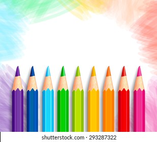 Set of Realistic 3D Colorful Colored Pencils or Crayons in a Brushed White Background with Texture for Back to School with White Space for Message. Vector Illustration