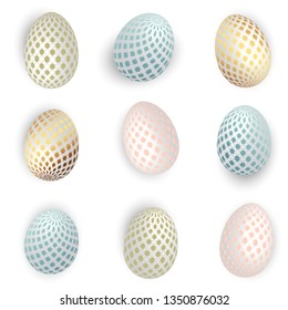 Set of realistic 3D Easter eggs of pastel shades with geometric patterns. Festive, holyday vector.