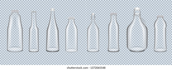 Set of realistic 3D glass bottles, cans of various shapes and volumes, on transparent background. Glass jars, bottles for canning, for dairy products, desserts, drinks transparent vector illustration