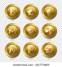 Set of Realistic 3d golden Bitcoin, Litecoin, Ethereum, Dash, Monero, Namecoin, Nem, Peercoin, Ripple coins. Banking and block chain concept.  Fat style isolated on transparent background. Vector