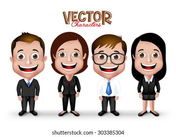 Set of Realistic 3D Professional Man and Woman Characters Happy Smiling in Formal Dress Attire for Business Isolated in White Background. Editable Vector Illustration
