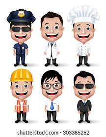 Set of Realistic 3D Professional Occupation Man Characters Happy Smiling Isolated in White Background. Editable Vector Illustration