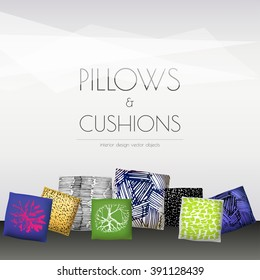 Set of realistic 3d throw pillows. Apartment interior design elements. Cushion covers collection.