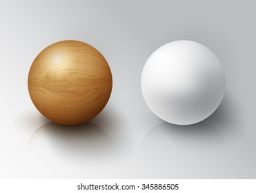 Set of Realistic 3D White Ball and Wooden Sphere.  Balls on white background with reflection. Vector illustration Design Template for Mock Up.