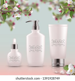Set of realistic 3d white bottles with silver cap. Empty package for skin care cosmetic - face oil, serum,wash, gel cleanser, scrub. Eco-cosmetic blank template, vector mockup for broshure, magazine