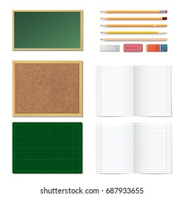 Set of realistic 3d wooden colored pencils, erasers, blank chalk board, brown cork board in a frame and green cutting mat isolated on white background. Sells and strips notebook paper sheets. Vector