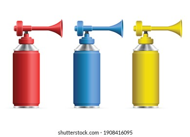 Set of realistic air horn vector illustration