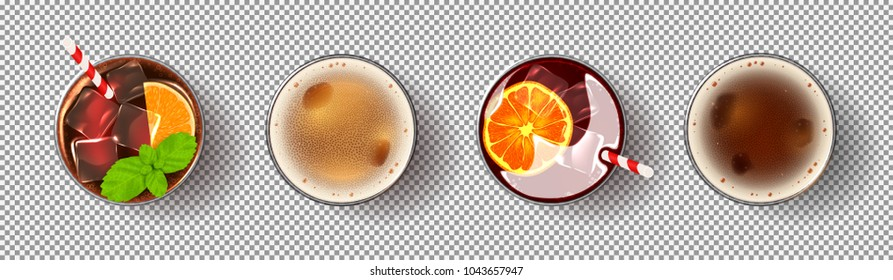 Set of realistic alcoholic drinks. Glasses of cocktails and beer isolated on transparent background. Vector illustration with fresh summer drinks.