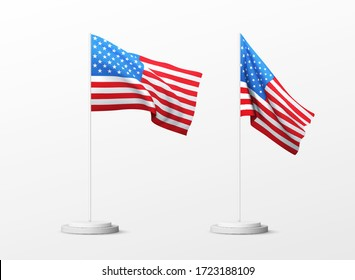Set of realistic american flag isolated on white background. Vector illustration EPS10