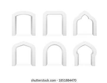 Set of realistic arches of different shapes, arc template 3d elements on white background isolated. Archways for interior, typography or advertising. Vector illustration