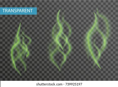Set of realistic bad smell. Isolated on a transparent background. The stench is a green haze. Vector illustration
