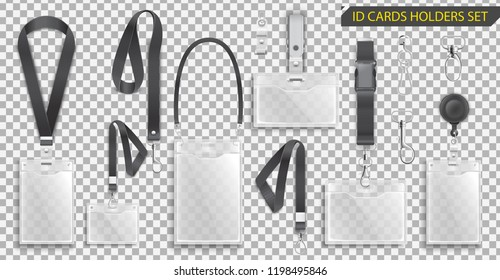 Set of realistic badges id cards holders on black lanyards with strap clips, cord and clasps vector illustration