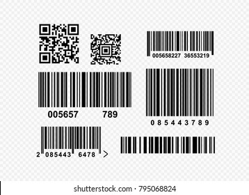 Set of realistic barcode black icon. Barcode vector illustration. Isolated on transparent background