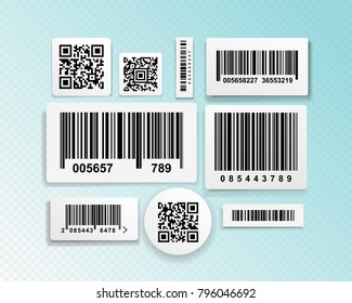 Set of realistic barcode black icon. Barcode vector illustration. Isolated on blue transparent background