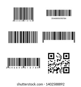 Set of realistic barcode icons isolated on gray background. Bar code icons