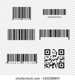 Set of realistic barcode icons isolated on transparent background. Bar code icons