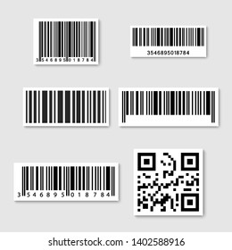 Set of realistic Barcode sticker. Bar code sticker icons