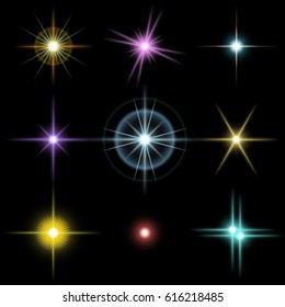 Set of the realistic beautiful multicolored star fires and flashes on a black background a vector illustration. Blue, red, yellow, pink, violet stars.