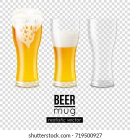 Set of realistic beer mugs full and topped with froth, half pint of light alcoholic drink and empty glass vector illustrations isolated on transparency