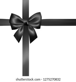 Set of Realistic black bow with black ribbon. Element for decoration gifts, greetings, holidays, Valentines Day design. Vector illustration.