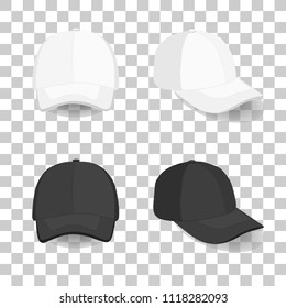 set of realistic black and white baseball cap