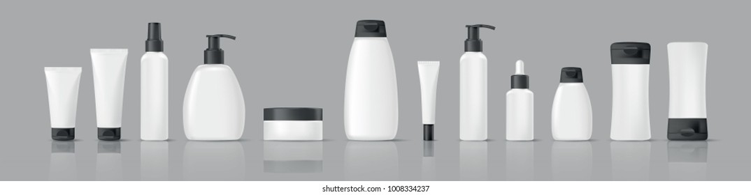 Set of realistic blank cosmetic tubes isolated on grey background