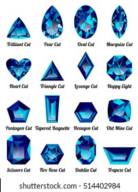 Set of realistic blue amethysts with complex cuts isolated on white background. Jewel and jewelry. Colorful gems and gemstones. Trilliant, pear, oval, marquise, heart, triangle, lozenge, happy eight.