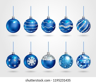 Set of realistic blue Christmas balls with different patterns of silver sequins. Vector illustration